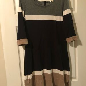 Neutral color block dress